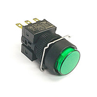 A16-TGM-1  非照光式押ボタンスイッチ  緑 モーメンタリ  16Φ